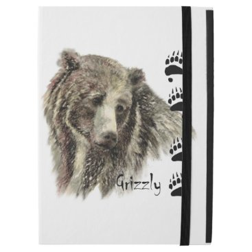 """Watercolor Grizzly Bear Animal Art with footprints iPad Pro 12.9"""" Case"""