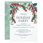 Watercolor Holly Festive Holiday Party Invitation