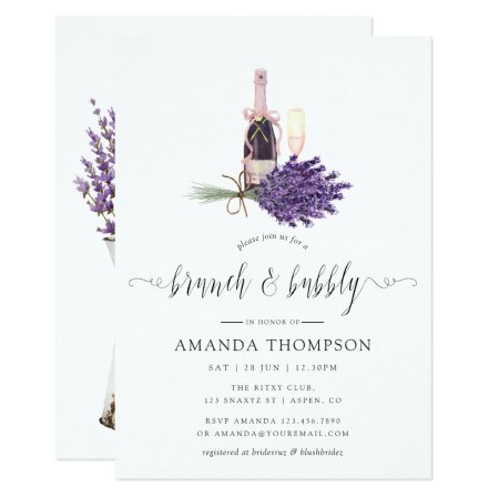 Watercolor Lavender Cottage Chic Brunch and Bubbly Invitation