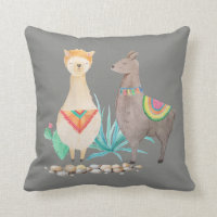 Watercolor Llama Colorful Grey Throw Accent Throw Pillow