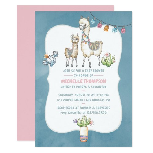 Watercolor Llama themed Baby Shower Invitation