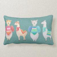 watercolor llamas cute modern hipster throw pillow