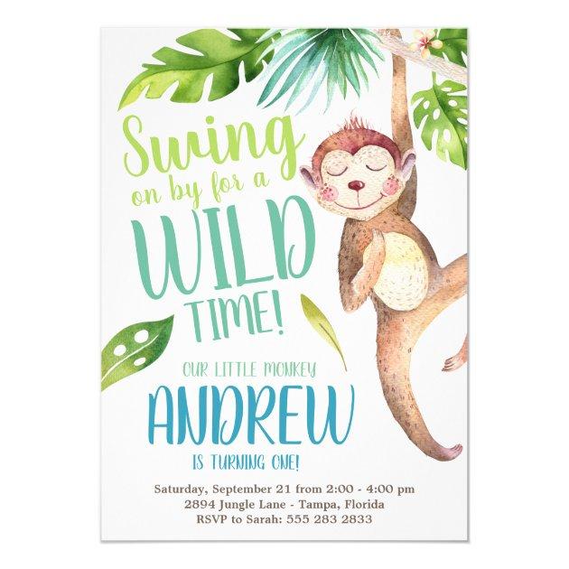 chalk style swinging monkey jungle