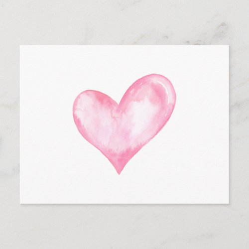 Watercolor pink heart, valentine gift holiday postcard