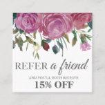 Watercolor pink roses square elegant referral card