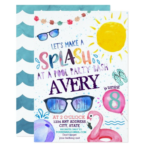Watercolor Pool Party Invitation