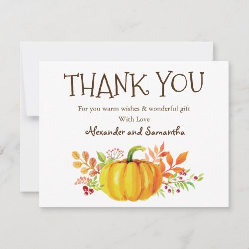 Watercolor Pumpkin Fall Thank You Card