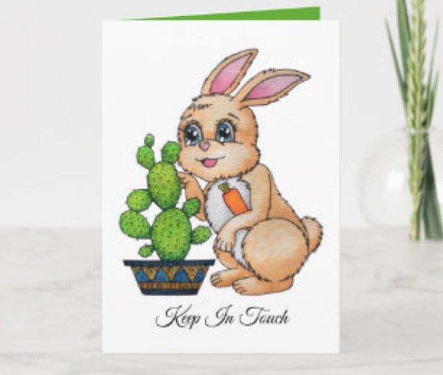 Watercolor Rabbit And Cute Cactus Card
