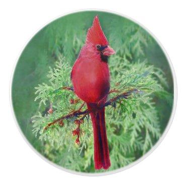 Watercolor Red Cardinal Bird nature art Ceramic Knob