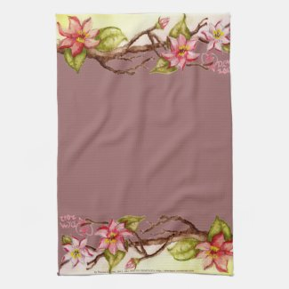 Watercolor, red flowers on a spring tree branch 2 mojo_kitchentowel