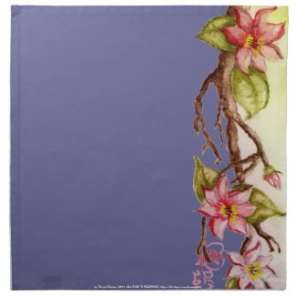 Watercolor, red flowers on a spring tree branch mojo_napkin