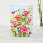 ❤️ Watercolor Red Poppies Blank Greeting Card
