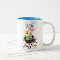 Watercolor Splash Easter Eggs Nest & Butterflies Two-Tone Coffee Mug
