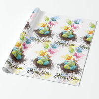 Watercolor Splash Easter Eggs Nest & Butterflies Wrapping Paper