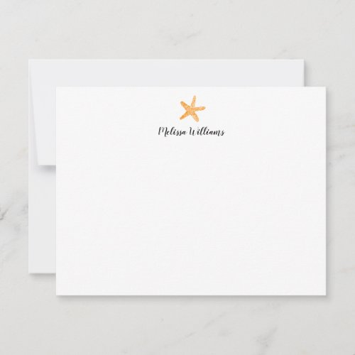 Watercolor Starfish Orange Personalized Stationery Note Card