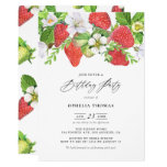 ❤️ Watercolor Strawberries Botanical Birthday Invitation