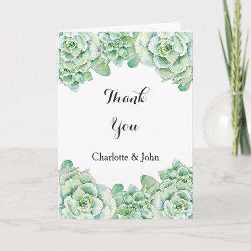 watercolor succulent wedding Thank You