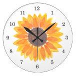 Watercolor Sunflower Large Clock