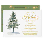Watercolor Tree and Lights Corporate Holiday Party Invitation