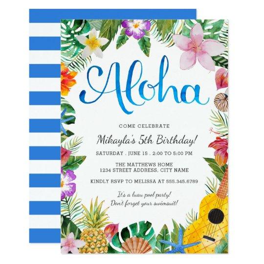 watercolor tropical luau birthday