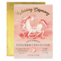 Watercolor Unicorn Gold Foil Wedding Invitation