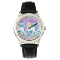 Watercolor Unicorns Wristwatch