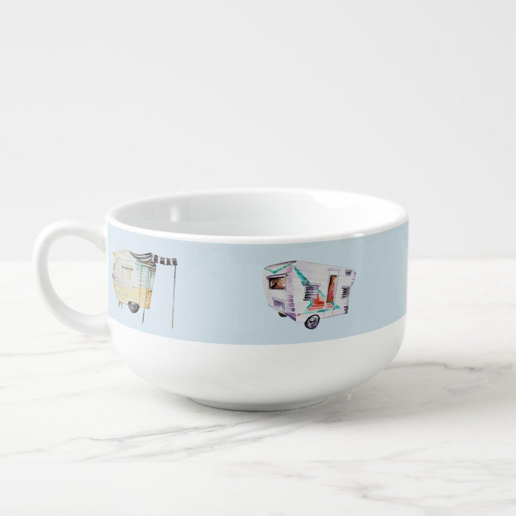 Watercolor Vintage Retro Camper Beer Soup Mug Bowl