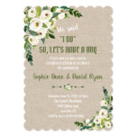 Watercolor White Flowers Linen Canvas I DO BBQ Invitation