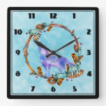 Watercolor Wolf Howling in a Boho Style Wreath Square Wall Clock