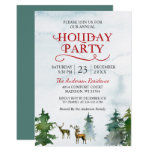 Watercolor Woodland Deer Snow Forest Holiday Party Invitation