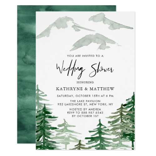 Watercolor Woodland Forest Wedding Shower Invitation