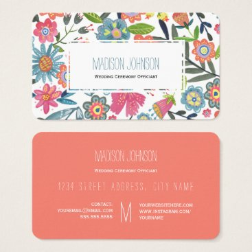 Watercolour Flowers | Monogram | Business Cards