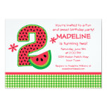 Watermelon 2nd Birthday Gingham Invitation