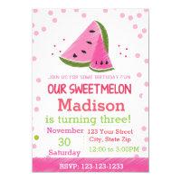 Watermelon Birthday Invitation (polka dot)