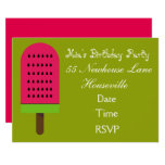 ❤️ Watermelon ice-block popsicle girl Party Invitation
