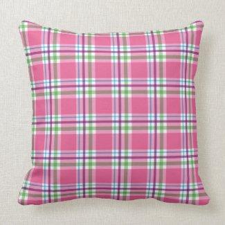 Watermelon Pink Green Aqua Purple Plaid Decor Throw Pillows