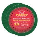 Watermelon Summer Pool Party Birthday Invitations