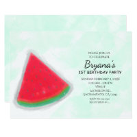 Watermelon Watercolor Birthday Party Invitations