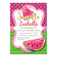Watermelon Watercolor Pink Birthday Invitation