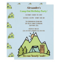 We Can Bearly Wait Blue Camp Out Birthday Party Card