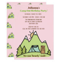 We Can Bearly Wait Pink Camp Out Birthday Party Card