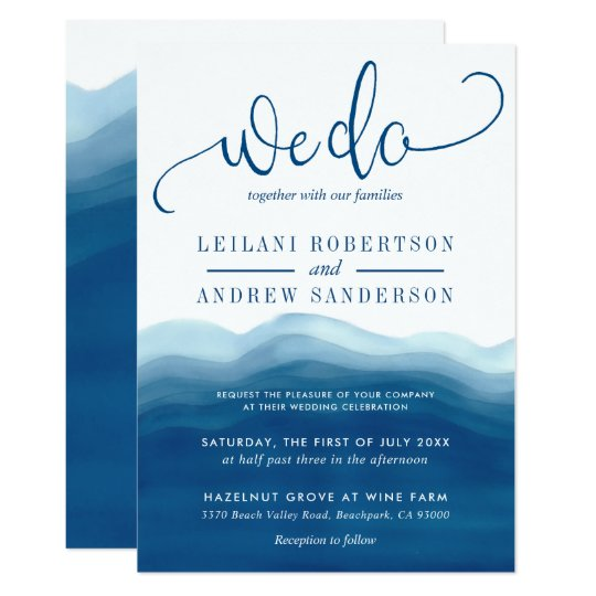We Do Blue Ombre Watercolor Wave Wedding Invitation