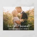 We got married elopement announcement postcard WB