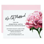 We Got Married Typography, Pink Watercolor Peony Invitation