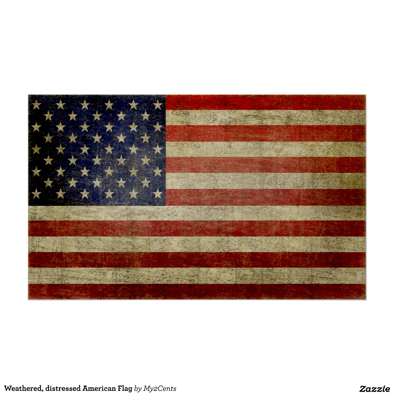 Weathered Distressed American Flag Poster