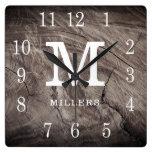 Weathered Wood Farmhouse Monogram Family Name Square Wall Clock