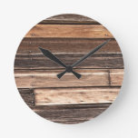Weathered Wood with Many Shades of Brown Round Wallclock