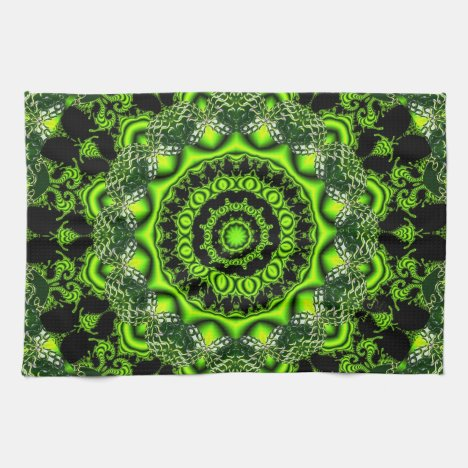 Web of the Spider Mandala, Abstract Circle Dances Hand Towel
