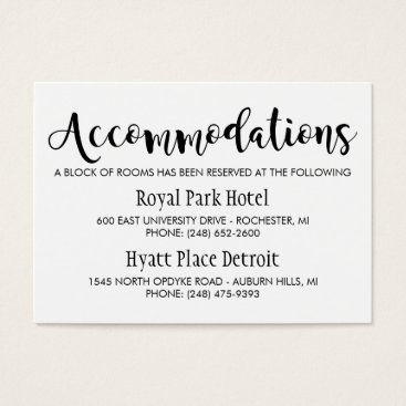 Wedding Accommodations Card | Black Script