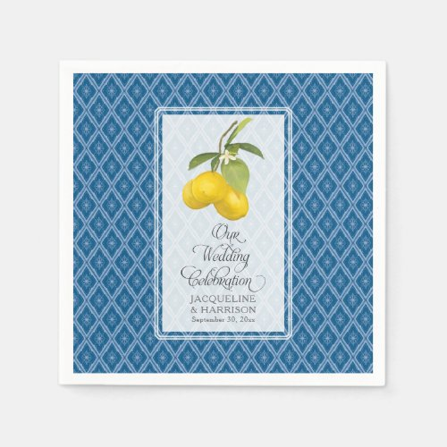 Wedding Celebration Navy Blue White Lemon Citrus Napkin